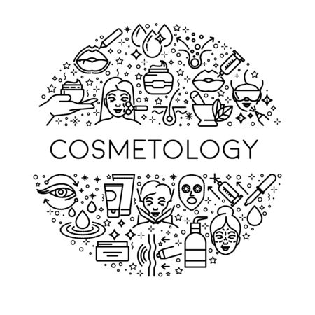 Skincare and beauty, cosmetology line icons, female bodycare Ilustración de vector