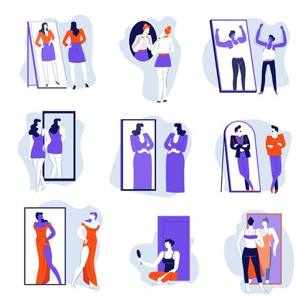 Mirror and people looking at reflection isolated icons, self rejection or acceptance Stock Illustratie