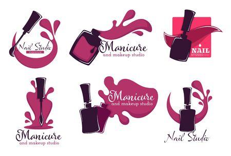 Manicure salon or nail studio isolated icons, polish or varnish