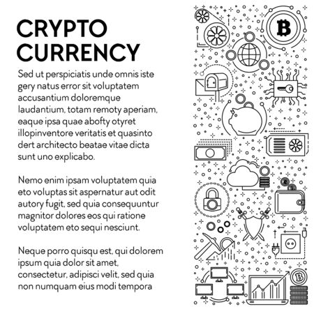 Cryptocurrency poster, bitcoins mining and online business line icons