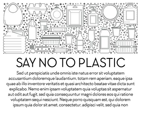 Say no to plastic banner with single-use plastics icons collection