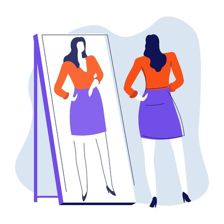Young woman looking at reflection in mirror, smarten up vector. Hairstyle and makeup checking, girl watching at reflection, beauty and skincare. Female character in shirt and skirt, self-esteem