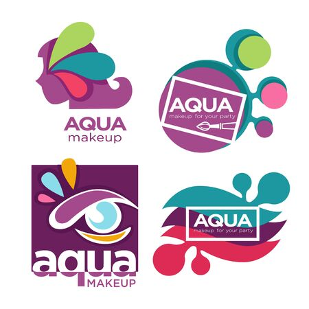 Natural cosmetics, aqua makeup and cosmetic tools isolated icons