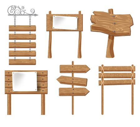 Signboards of wood, wooden signages and signs isolated icons