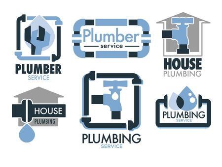 Plumbing services isolated icons, pipes and taps, leakage repair