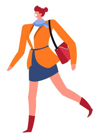 Stylish woman with handbag walking, fashionable lady vector