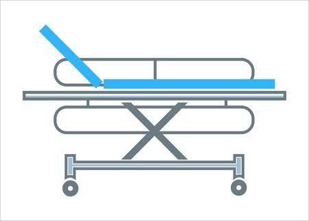 Hospital transportation bed medical stretcher outline symbol vector Stock Illustratie