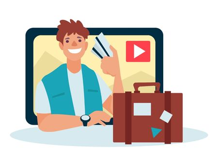Travel video blogger, man with tickets and suitcase, traveling content creator isolated icon vector. Sharing trip tips blog, ideas and inspiration for video. Guy with boarding pass and baggage
