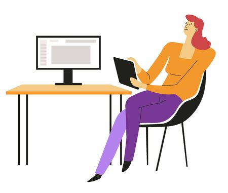 Book writing, writer with computer and notepad at desk vector isolated female character. Job or occupation and art, brainstorming idea or plot, typing text. Creation process, novel or story, literacy Ilustrace