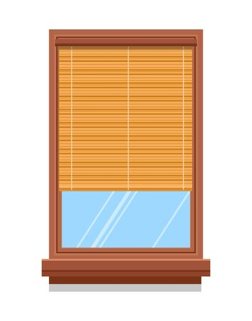Windows with curtains, blinds or shutters, fabric and wood, interior design vector isolated icon. Textile shade, indoor decor, cotton and bamboo. Glass and plastic, drapes and light cover or shadow