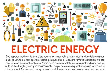 Electric energy, electricity power generation, solar batteries banner vector. Electrician tools, voltmeter and pliers, screwdriver and socket, switch and charger. Light bulb and gloves, eco windmills Ilustração