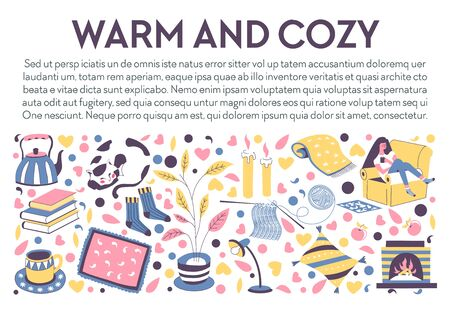 Warm and cozy banner. Relaxing fall evening at home interior, girl sitting on armchair, fireplace, printed blanket, stack of books, knit socks, hot tea drink, candles. Vector illustration with text.