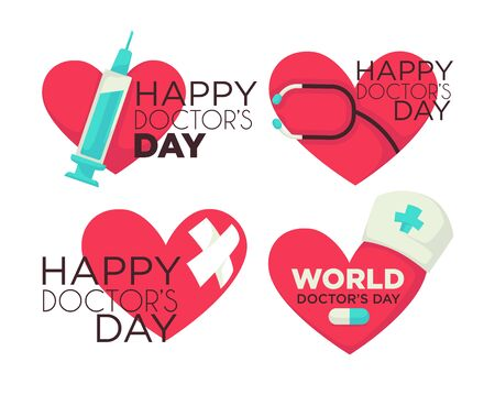 Happy doctors day celebration, set of banners for medical worker professional holiday. Collection of icons with hearts, syringe and plaster, pill and doc hat. Banners for hospital employees vector