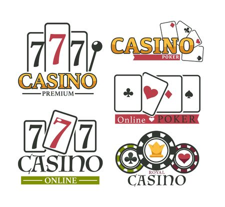 Gambling logotype online poker, premium and royal casino isolated on white symbol. Ace and 7 card and chip with lear heart, pica and cross emblem set. Business roulette entertainment logo vector