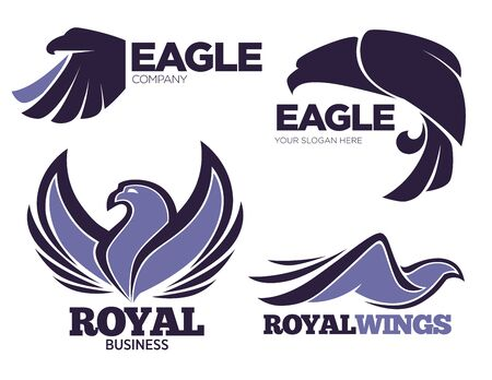 Companies logotypes or emblems with custom slogan. Isolated collection or eagle birds, hawks predators. Set of icons or modern logos for organizations, mascot for businesses, vector in flat style