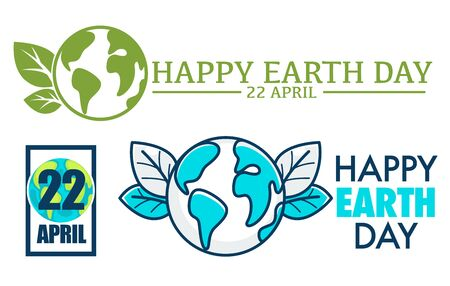 Happy Earth Day 22 April international holiday poster. World environment greeting festive card with globe and leaves natural symbol isolated on white. Postcard typography with planet sign vector