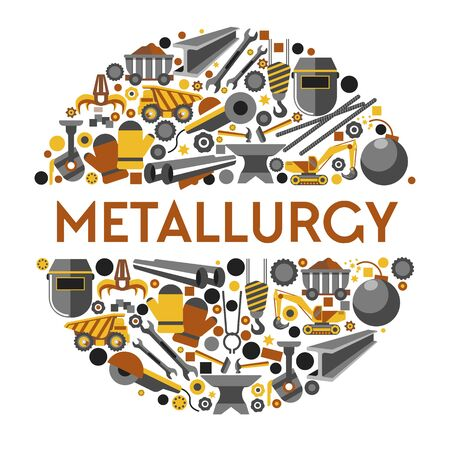 Metallurgy industry icons collection set in circle. Mine pit heavy extraction machines, cast iron bucket pouring molten metal, steel work tools, safety mask and gloves. Vector graphic illustration. Illustration