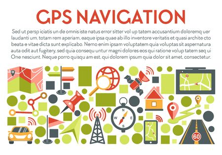 GPS navigation banner with text. Navigator app showing direction on mobile phone screen for travel by car, road route, map, compass, locator and pinpoint icons collection. Graphic vector illustration.