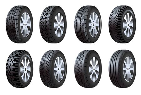 Wheel tires, car tire tread tracks, motorcycle or vehicle, racing, isolated icons vector. Bike, track or auto race, repair and maintenance. Rubber black circle, automobile spare part, protector