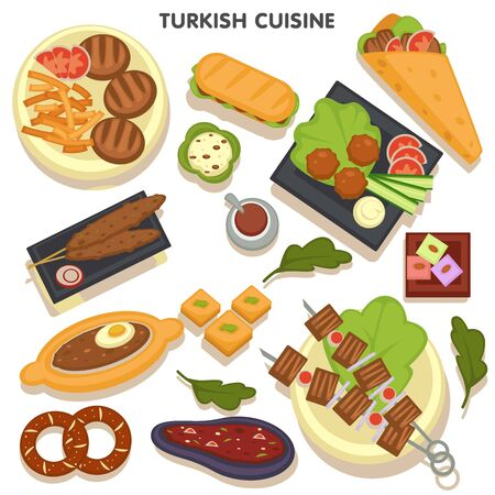 Collection of Turkish cuisine dishes dinner and lunch. Meals made of vegetables and meat, kebab and menemen made with egg, shish and doner, baked pastry and baklava dessert. Vector in flat style