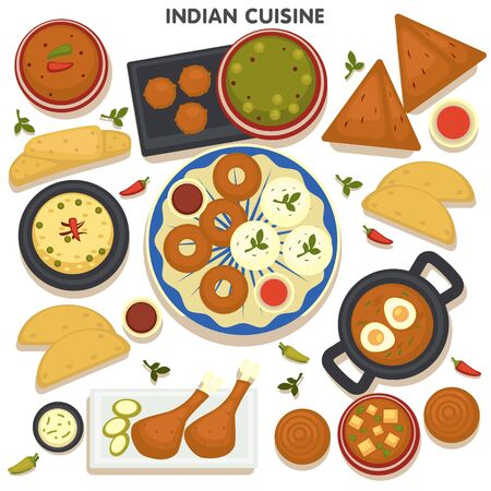 Indian cuisine menu, collection of dishes of India. Aromatic meals cooked on traditional recipes, rise and chicken meat, herbs and fried eggs. Soups and tandoori, spicy snacks vector in flat