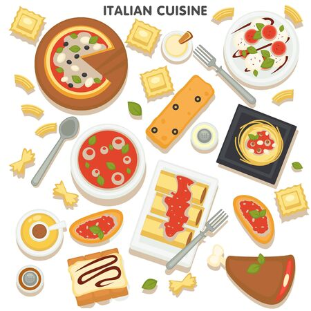 Italian cuisine of european country, menu with pasta, pizza and desserts. Cooked traditional dishes with sauces and spices. Served sweets, snacks and pastries with cream, vector in flat style