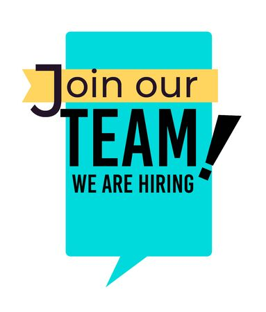 Hiring and join our team isolated icon, wanted and vacancy vector. Career and job finding, recruitment and employment, emblems or logo. Work offer ads or promotion, social media announcement Logo