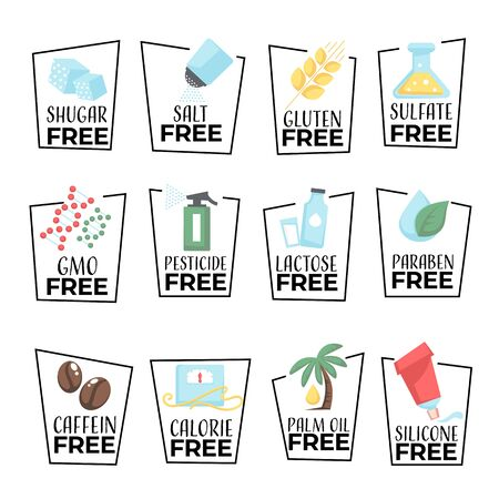 Products and food labels isolated icons, gmo or gluten free