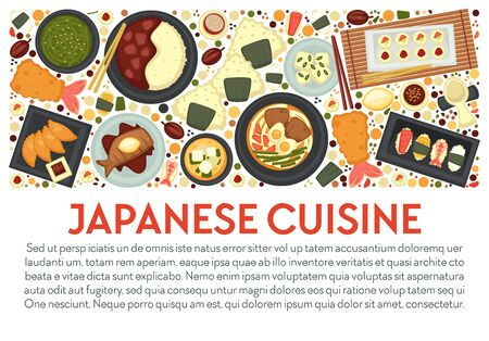 Japanese cuisine banner template with dishes top view and text Çizim