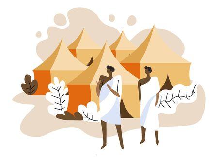 Mina tents area, muslim pilgrims and Islam sacred pilgrimage Ilustração