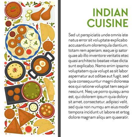 Indian cuisine banner template with text. Paneer butter masala, red chilli chutney, egg curry with chapatti, deep fried vegetable balls and dal lentil soup, samosa and jalebi dishes, top view. Vector.