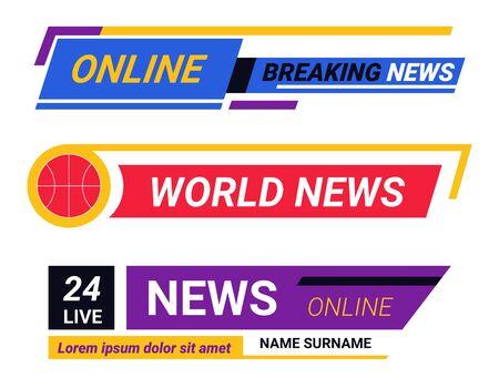 Online TV news, breaking report broadcast headlines or headers