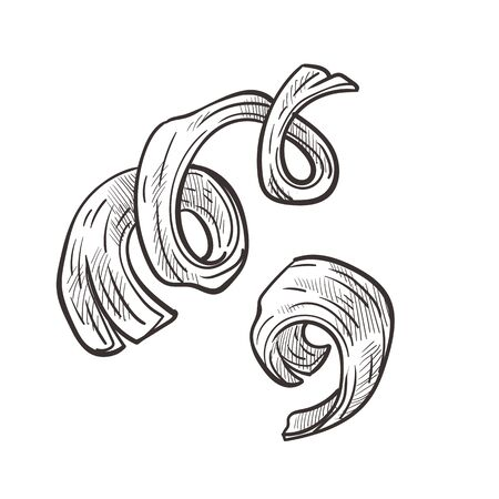 Wooden shavings and curly wood chips hand drawn illustration