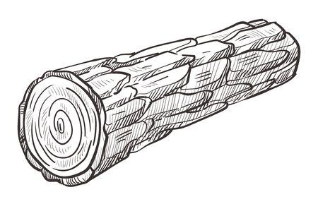 Wooden log and piece of firewood hand drawn illustration Illusztráció