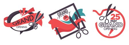 Open new logotype with scissors and cutting ribbon symbol in frame vector
