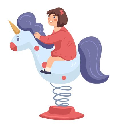 Girl riding horse or unicorn in amusement park Illustration
