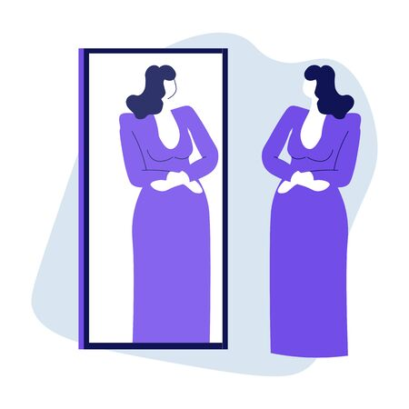 Woman looking at mirror reflection and trying on evening dress