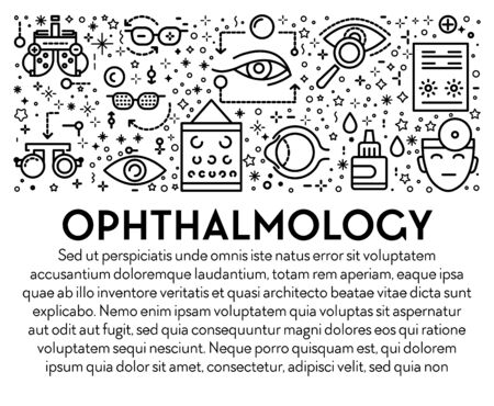 Ophthalmology banner with eyesight check up linear icons and text