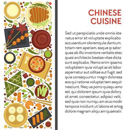 Chinese cuisine restaurant menu banner, China dishes