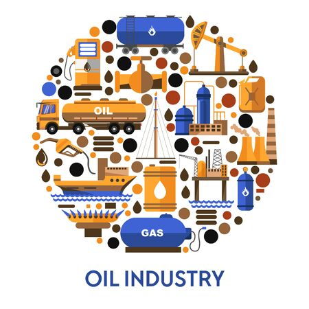 Oil industry banner with icons set in circle and text