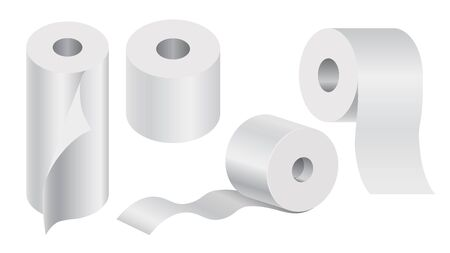 Toilet paper and disposable towels isolated icons, bathroom items