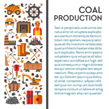 Mine industry, coal mining poster, machinery and industrial equipment