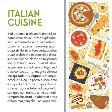Italian cuisine banner template with dishes top view and text
