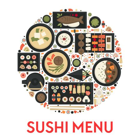 Sushi menu, Japanese food restaurant, green tea and rolls