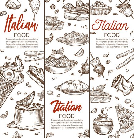 Italian food banner with dishes hand drawn sketches and text