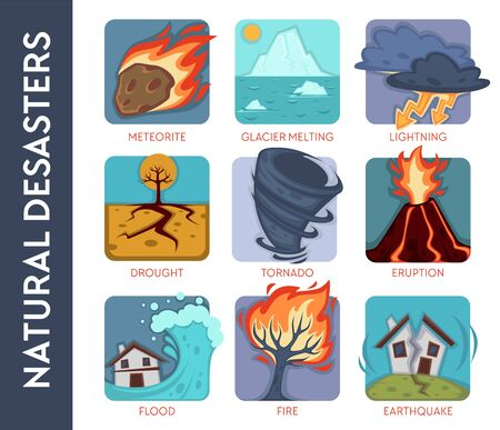 Environment, natural disasters or cataclysms and catastrophes isolated icons Ilustrace