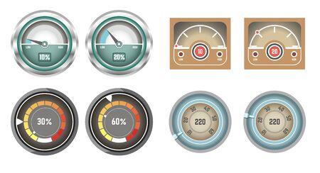 Speedometer and fuel volume indicator and display set