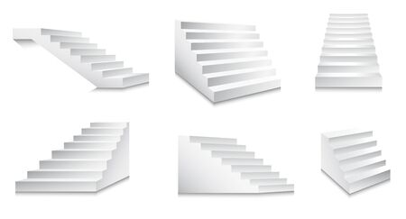 White stairs and minimalistic staircase front or side view set
