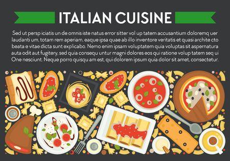 Food of Italy, Italian cuisine banner, pizza and pasta Ilustración de vector