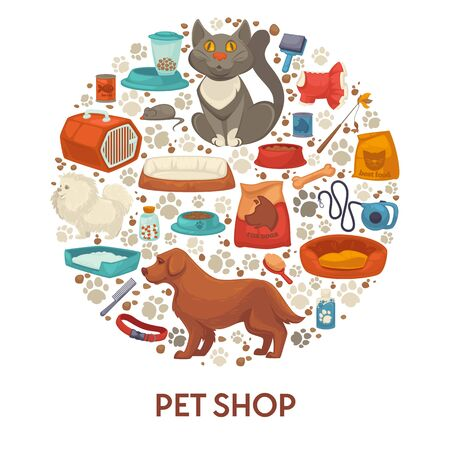 Pet shop banner template with dog and cat care accessories